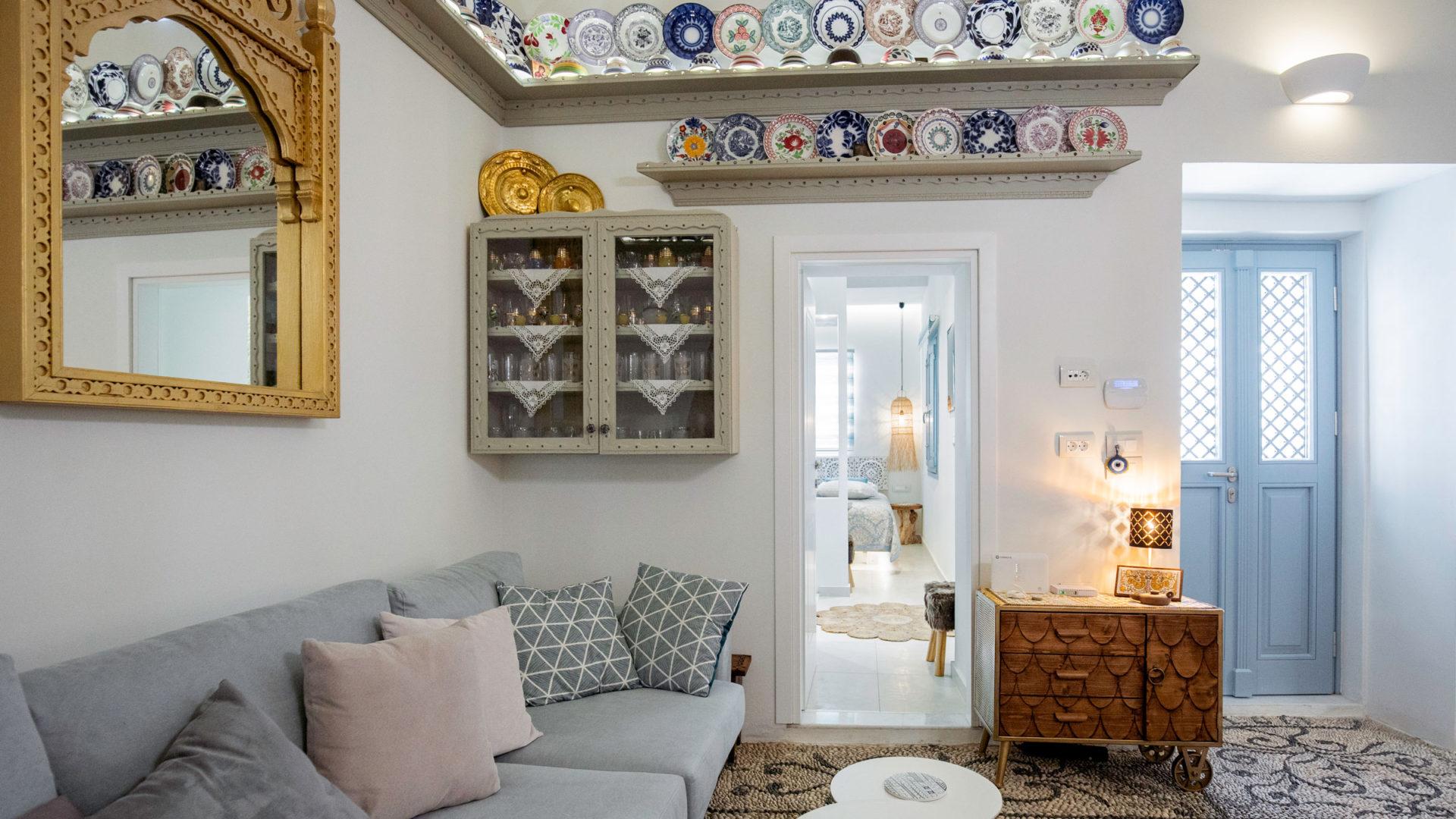 Living area and door to master bedroom