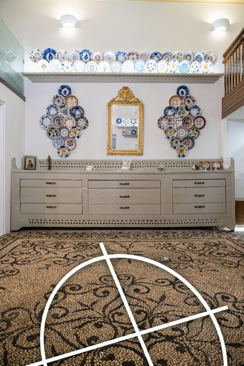 The restored buffet and the geometry of the floor